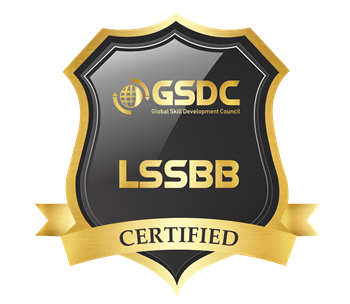 Certification badge for lean six sigma black belt