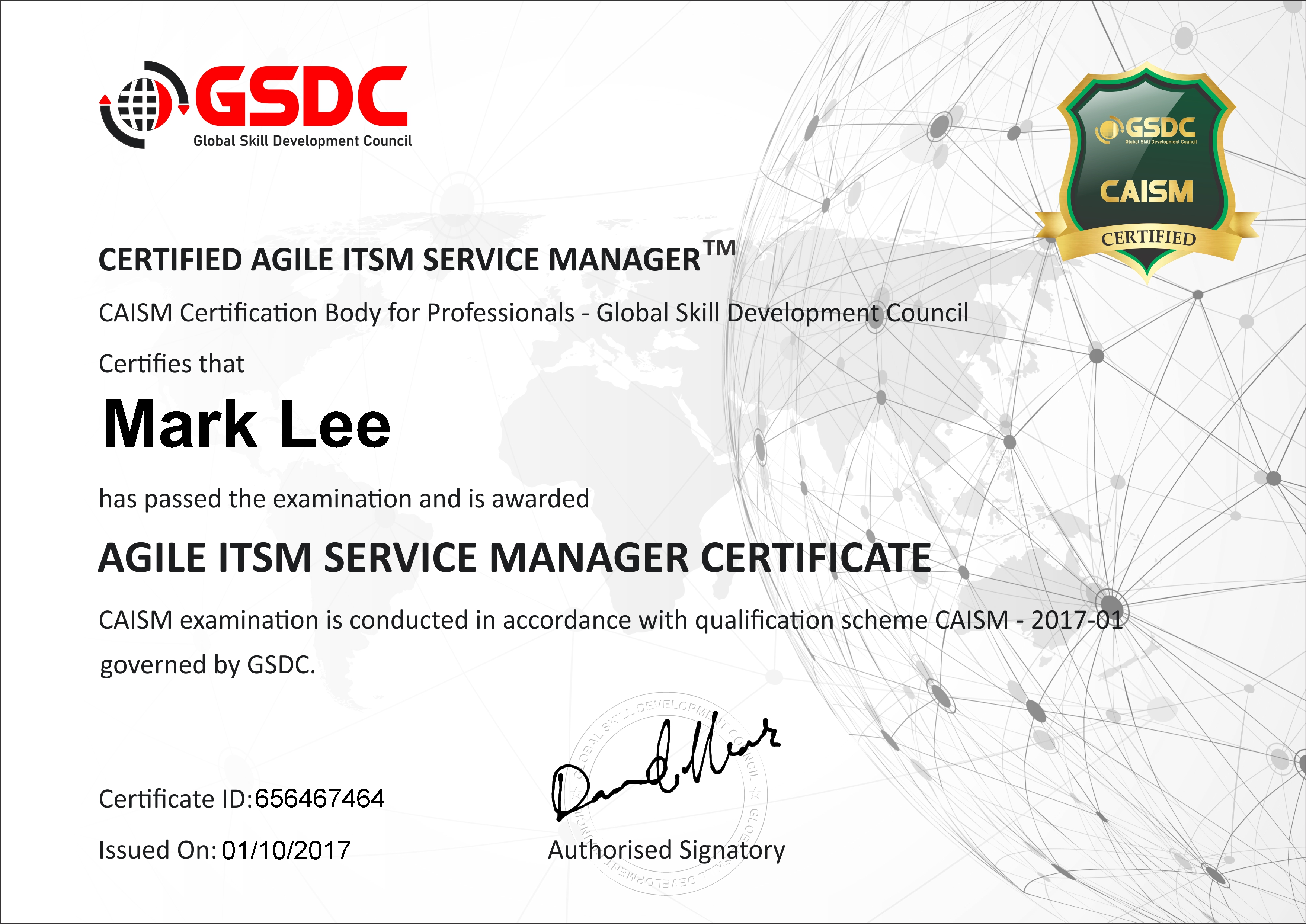 Certified Agile Itsm Manager Caism Gsdcouncil